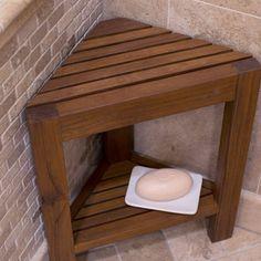 Belham Living Corner Teak Shower Bench with Shelf - Bathtub & Shower Accessories at Hayneedle