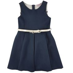 Navy blue neoprene dress with a flower-shaped bottom. Comfortable easy-drying material. Close fitting shape with darts on the front and in the back on the waist. Sleeveless dress with a zipper in the back. Fine ivory imitation patent leather belt. - $ 105.69