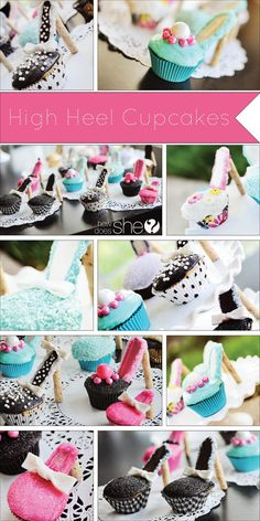 Cute cupcake decoration. Adorable High Heel Cupcakes! These would be so much fun for a girl's birthday party!