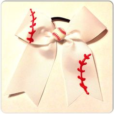 Cheer Bow Baseball Style Hand Painted White Pony by snkmb on Etsy, $7.00