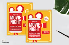 Movie Night Flyer vol. News 9, Club Parties, Design Bundles, School Design, Flyer Template, Flyers, Flyer Design, Fonts