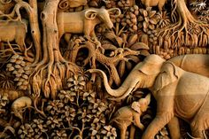 Bas relief wood sculpture
