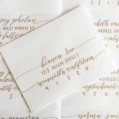 """Loved working on these white and gold pretties for a bridal shower! ✨✨✨ Sometimes people tell me """"no offense, but who would pay for something you're just going to throw away anyways??"""" To those people I say """"offense taken!"""" Imagine getting something hand lettered in the mail...I know it makes me smile! I can't wait to open letters and invites that are addressed beautifully, and I keep those envelopes! I like thinking of these envelopes as little pieces of happiness floating around in the…"""