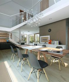 Projekt domu Nowoczesny 1 216,3 m2 - koszt budowy - EXTRADOM Wood Pallet Planters, Wood Pallets, Home Organization, Foyer, Interior Inspiration, Floor Plans, House Design, Interior Design, Architecture