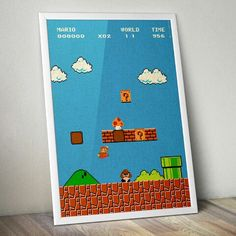 Put your plumbing pants on and travel back to a Nintendo Classic: Super Mario Bros! Poster available NOW! Worldwide shipping!