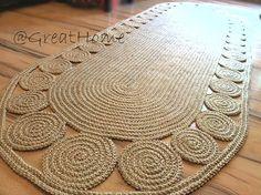 9 x 3 ft Swank decorative jute rug oval Crochet / door GreatHome