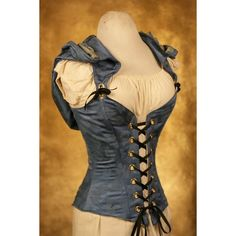 Now THERE'S an idea that I really like- hooded corsets! Blue Hooded Cloak Corset CUSTOM FIT by damselinthisdress on Etsy Medieval Clothing, Steampunk Clothing, Steampunk Fashion, Gothic Fashion, Mode Steampunk, Steampunk Cosplay, Gothic Steampunk, Victorian Gothic, Gothic Lolita