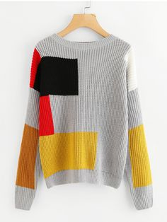 Shop Cut And Sew Knit Sweater at ROMWE, discover more fashion styles online. Knitwear Fashion, Knit Fashion, Color Blocking Outfits, Rainbow Outfit, Knit Wrap, Color Block Sweater, Fashion Images, Summer Shirts, Knit Dress