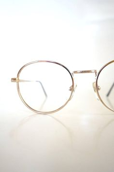 a2129c9460 Round Eyeglasses Womens 1980s Wire Rim Glasses Metallic Gold Shiny Geek  Chic Nerdy Hipster Authentic Real Retro 80s Deadstock NOS Unique