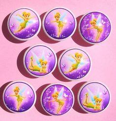 8 TINKERBELL FAIRY  SPARKLE  Purple  dresser drawer knobs