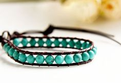 Handmade Natural Turquoise Leather String Bracelet $14.99