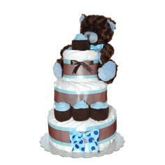Baby Diaper Cake 3 Tier Brown-Blue Teddy Bear Classic Diaper Cake/ Baby Boy Gift