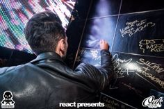 Cedric Gervais signing our DJ Wall of Fame at Oak Lounge Milwaukee