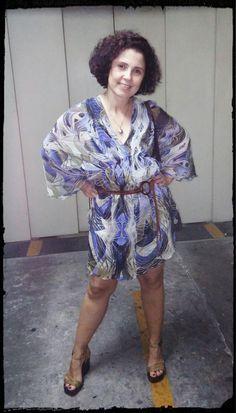 Vestido herdado da prima #Carlosmiele, Cinto que era da mãe e Sandália #Prego... sim, é a mesma bolsa. Ahhh, o cabelo é permanente, enquanto a massa alisa, nós damos volume.