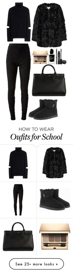 """""""Untitled #3635"""" by fashionhypedaily on Polyvore featuring Jean-Paul Gaultier, Public School, UGG Australia, MANGO, Giorgio Armani, Rodial, Clarins and Yves Saint Laurent"""