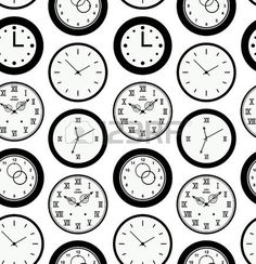 clock wallpaper: Seamless black pattern texture with contours of round clocks. Time outline background  Illustration