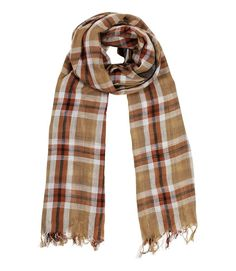 Men's Brown Checkered Soft Cotton Scarf: Amazon.co.uk: Clothing