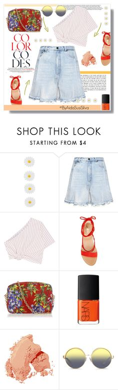 """Denim and mixing patterns."" by aidasusisilva ❤ liked on Polyvore featuring Monsoon, Alexander Wang, Rosie Assoulin, Vince Camuto, Dolce&Gabbana, NARS Cosmetics, Bobbi Brown Cosmetics and Matthew Williamson"