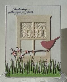 memory box twigs and berries die for branch Memory Box Cards, Window Cards, Die Cut Cards, Bird Cards, I'm Happy, Greeting Cards Handmade, Homemade Cards, Repurpose, I Card