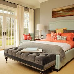 Master Bedroom: colors (light & dark greys + blues + pops of coral & yellow). Wall grey color is Silent Night 1613 by Benjamin Moore