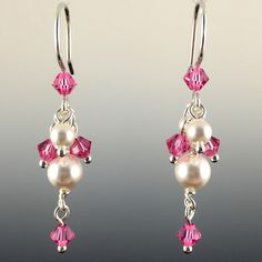 Swarovski Crystal & Sterling Silver Short Cluster Earrings with Dangles