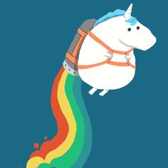Fat Unicorn on Rainbow Jetpack Art Print