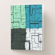 Coal White Teal Green Aqua Blue Modern Pattern Pocket Folder - classic gifts gift ideas diy custom unique
