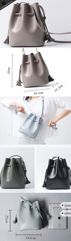 Genuine Leather bucket bag shoulder bag for women leather crossbody bag