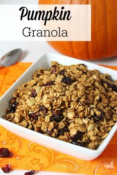 This pumpkin granola is perfect for eating with milk in the morning or sprinkling on top of your yogurt to add a little crunch. No longer do your mornings have to be a hurried mess. I like to make granola at night or when I have free time in the afternoon, and then I just store it in a jar in the pantry. Easy peasy.