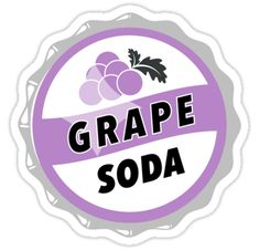 sticker 'Grape Soda : UP Bottle Cap' Sticker by KylieBeth Bubble Stickers, Phone Stickers, Cool Stickers, Printable Stickers, Planner Stickers, Funny Stickers, Scrapbook Stickers, Homemade Stickers, Grape Soda