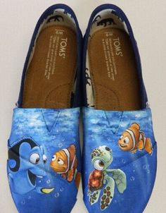 #TomsShoes Custom hand painted Toms shoes Disney and Pixars Finding Nemo To