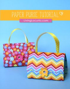 Paper Purse Party Favors. Craft Tutorial & How-to Video for cute paper bags. Makes great DIY gifts or goodie bags.