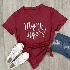 Excited to share the latest addition to my #etsy shop: Mom Life T-shirt http://etsy.me/2zK9xpA #clothing #women #tshirt #red #black #topteetshirt #trendytshirt #fashion #cottontshirt