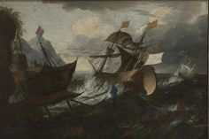 PIETER MULIER II o THE YOUNGER called IL CAVALIER TEMPESTA (attribuited). DUTCH AND SPANISH SHIPS IN DISTRESS IN A HEAVY GALE NEAR A ROCKY COAST, A ROWING BOAT WITH CREW IN THE FOREGROUND. oil on canvas. 93 × 133 cm. Private Collection.