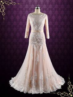 Modest lace wedding dress with peach blush lining and ivory lace. Photoed in Blush, can also be made in another color such as all ivory and white. Working Time: 8-10 weeks Rush Order or customization