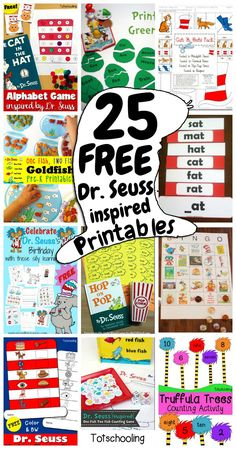 With Dr. Seuss birthday in March- now is a great time for a Dr. Seuss unit! And here is a roundup of free printables to get you started!