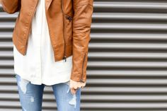 """Showing Another Way to Style the Oversized """"Boyfriend's Shirt"""" from the September Magnolia Post Co Collection! Red Leather, Leather Jacket, Fall Lookbook, Boyfriend Shirt, Magnolia, September, Jackets, Shirts, Collection"""