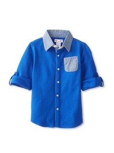 49% OFF Hippototamus Boy's Piquet Button-Up Shirt (Blue/Chambray)