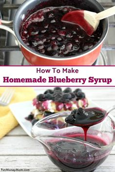 Blueberry Syrup - This blueberry syrup recipe is so amazing, you're going to want to put it on everything! It's a perfect pancake syrup and also delicious on wafflles and even as a topping for your next cheesecake recipe! #blueberries #blueberrysyrup #breakfastrecipe #breakfast #pancakes