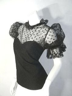 VICTORIAN Inspired Vintage STEAMPUNK PINUP Gothic Lace Blouse L. $110.00, via Etsy.