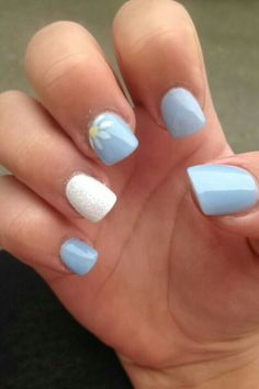 Light blue nails