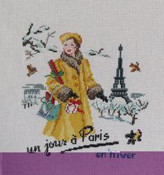 broderie point de croix  un jour è Paris en hiver