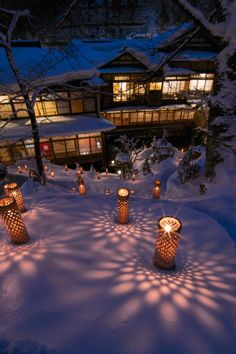 Candle light at Mukaitaki Inn, Aizu, Fukushima 向瀧の冬景色 雪見ろうそく