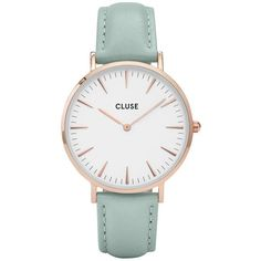 Cluse Cluse La BohÈMe Rose Gold Mint Leather Strap Ladies Watch (6.185 RUB) ❤ liked on Polyvore featuring jewelry, watches, accessories, bracelets, peace jewelry, rose gold watches, quartz movement watches, peace sign jewelry and rose gold jewelry