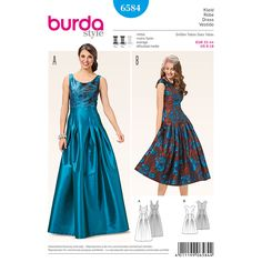 Create evening fashion with retro charm with this evening dress featuring a pleated skirt and back decollete. The topstitched pleats on the skirt spring open from the hip, creating sumptuous fullness. A Burda Style sewing pattern.