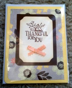 Hand-Stamped 'So Thankful for You' Thanksgiving / Autumn Note Card - Orange and Brown Floral w/ Pale Orange Ribbon Bow. $3.50, via Etsy.