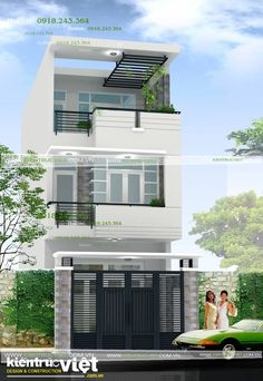 elevation designs for individual houses 3 Storey House Design, Duplex House Design, House Front Design, Small House Design, Modern House Design, Dream Home Design, Dream House Plans, Modern House Plans, Home Building Design