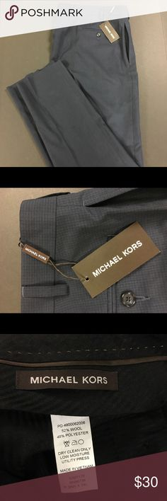 Men's Michael Kors Blue Dress Pants Item Description:  Men's Michael Kors Blue Dress Pants  Brand: Michael Kors Material: 52% Wool, 48% Polyester Gender: Men's Size: 36W X 34L Retail Price: $60 Color: Dark Blue Authenticity: 100% Guaranteed   Note: I try my best to list defects. We are a smoke-free home. I do clean my preowned items before shipment, but a second washing before wearing is always recommended.  Please refer to pictures for items condition and description. Michael Kors Pants…