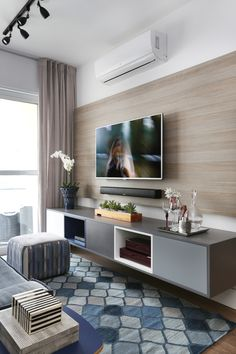 Home Decorating Style 2019 for Living Room Tv Wall Ideas, you can see Living Room Tv Wall Ideas and more pictures for Home Interior Designing 2019 at Best Home Living Room. Living Room Tv Unit, Small Living Rooms, Home Living Room, Apartment Living, Interior Design Living Room, Living Room Designs, Modern Living, Modern Tv, Living Room Ideas Tv Wall