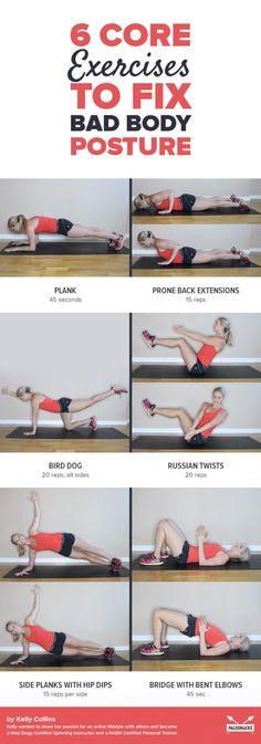 6 Core Exercises to Fix Bad Body Posture  Badposturefix Oberkörper  Trainieren 3c6ae13543